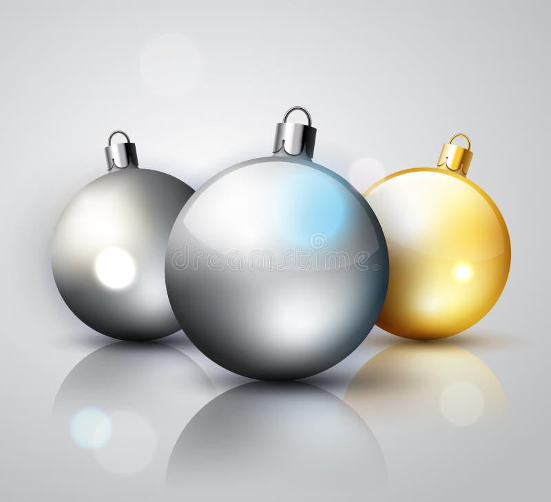 Bolas do Natal da decoração da prata e do ouro ilustração do vetor