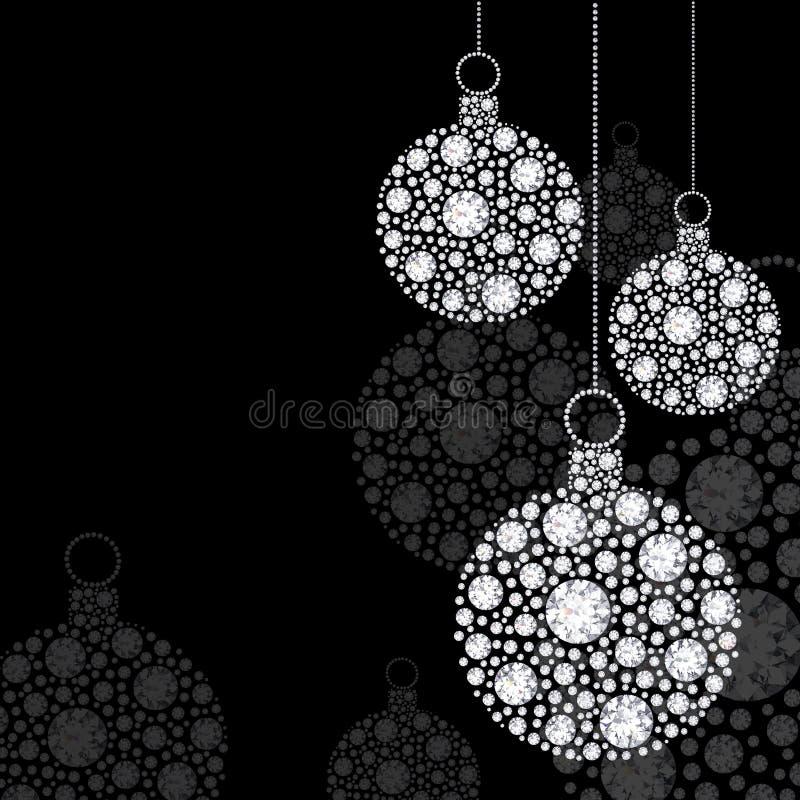 Bolas do Natal do diamante da ilustração em um fundo preto ilustração royalty free