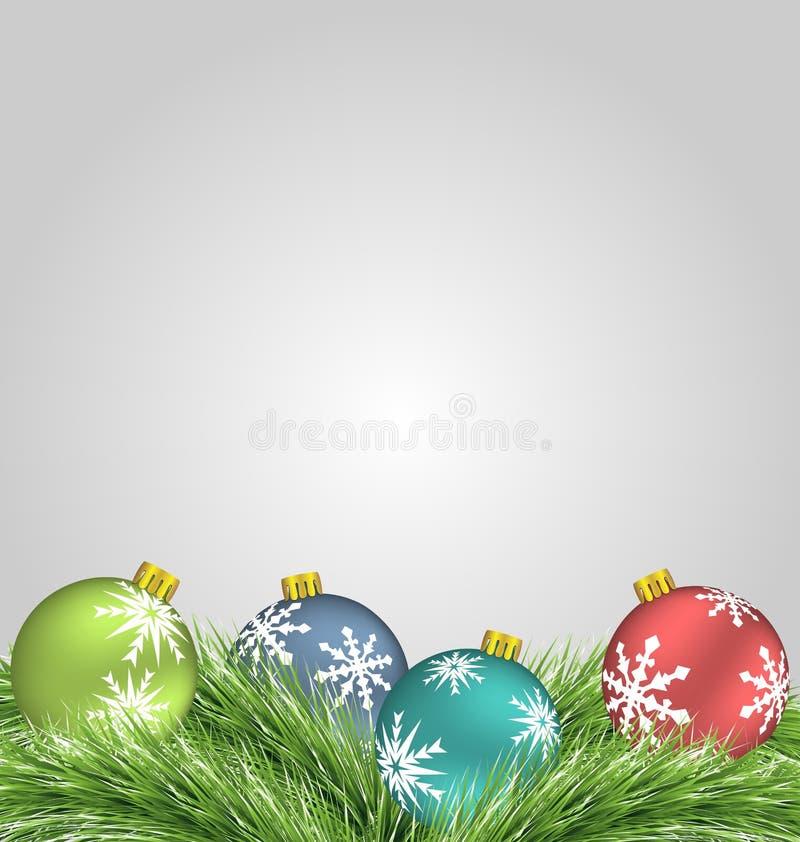 Bolas do Natal em ramos do pinho ilustração royalty free