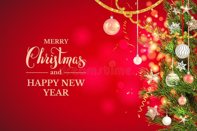 Bolas do Natal, estrelas, ouropel dourado ilustração stock