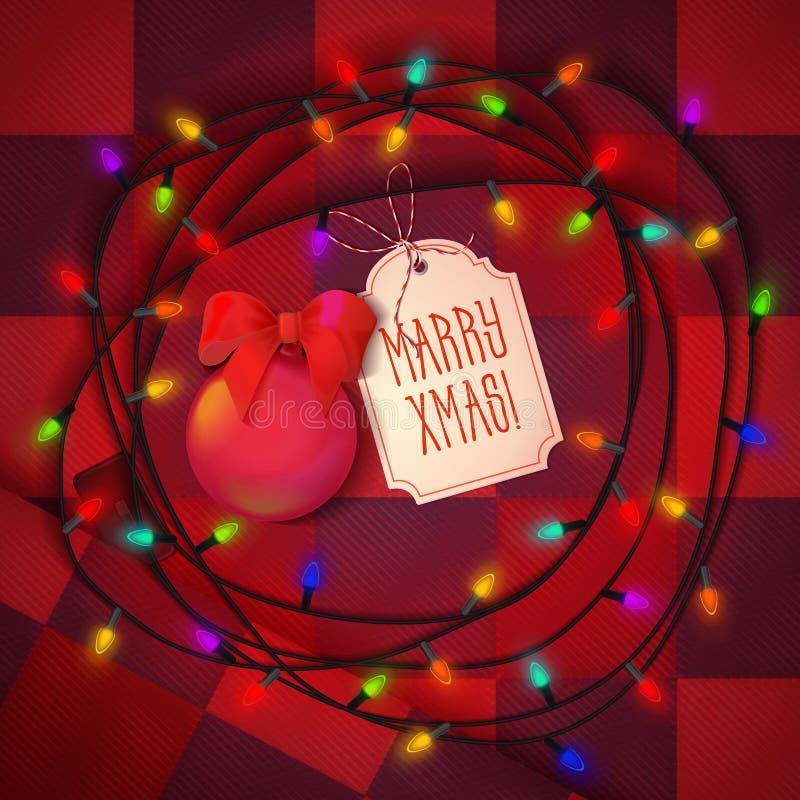 Bolas do Natal, festão festiva da lâmpada para o xmas do feriado e projeto de cartão no fundo vermelho com Natal ilustração royalty free