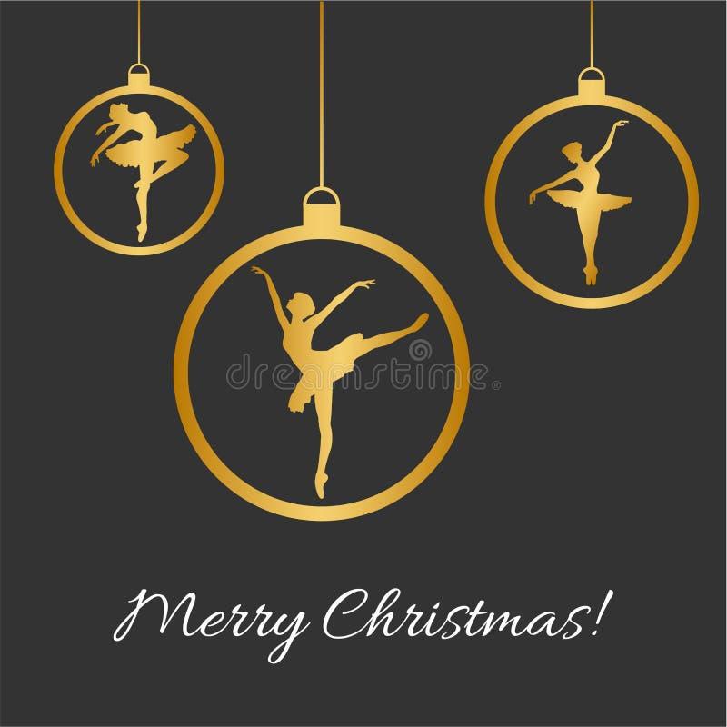 Bolas do Natal, silhueta de dança do balerina fotografia de stock