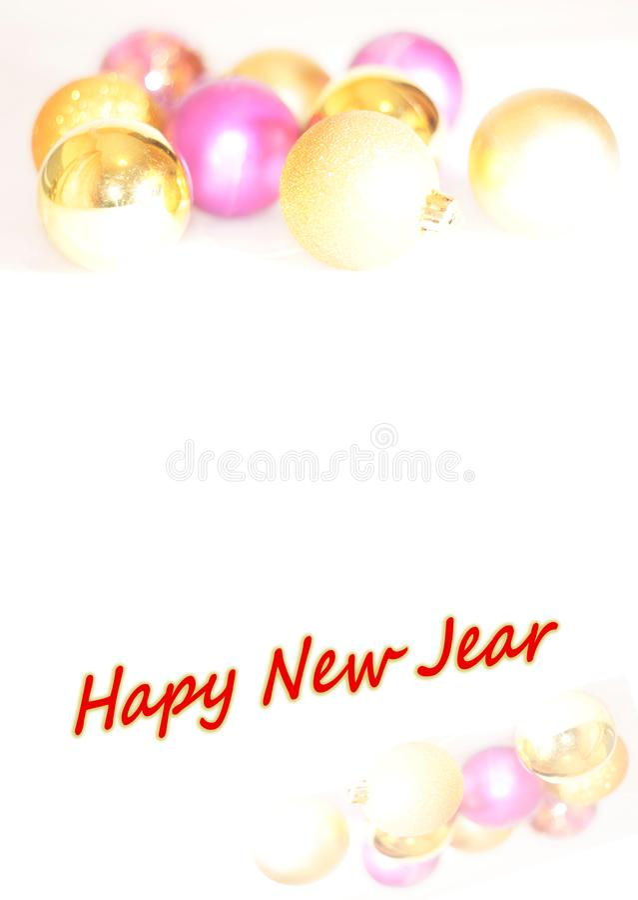 Bolas do ouro e da pérola em um fundo branco com cumprimentos do texto fotos de stock
