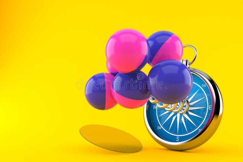 Bolas do Paintball com compasso ilustração royalty free