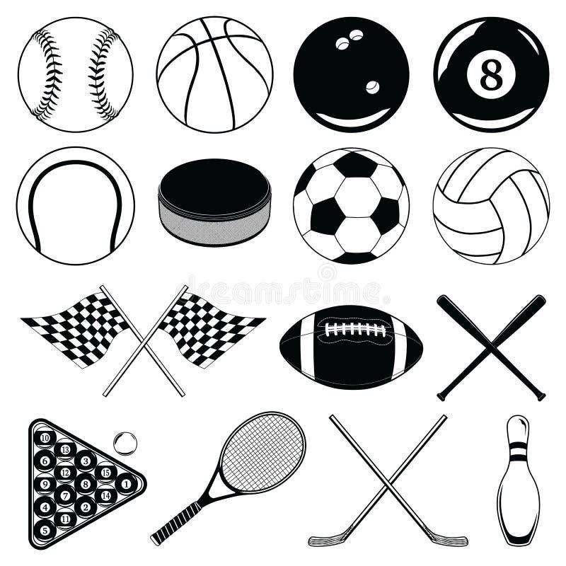 Bolas dos esportes e outros artigos ilustração do vetor