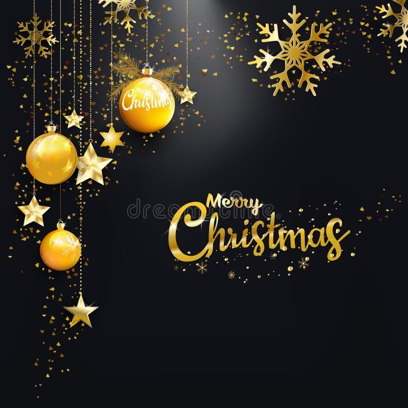 Bolas douradas do Natal do ano novo feliz do Feliz Natal, estrela, fundo do preto do brilho da poeira de diamante ilustração stock