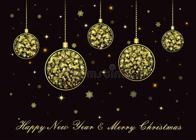 Bolas douradas do Natal do vetor no fundo preto ilustração do vetor