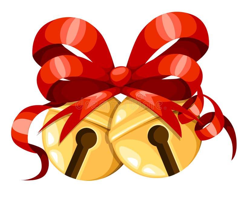 Bolas douradas do sino de Natal com fita e curva vermelhas Decoração do Xmas Ícone dos sinos de tinir Ilustração do vetor isolada ilustração stock