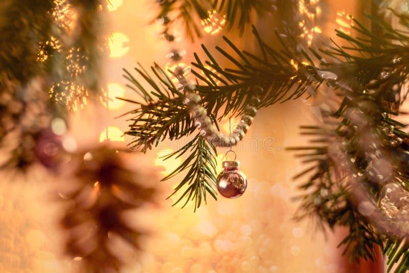 Bolas e festão do Natal nos ramos de árvore do Natal, sparkles no fundo do bokeh Fundo do Natal e do ano novo foto de stock
