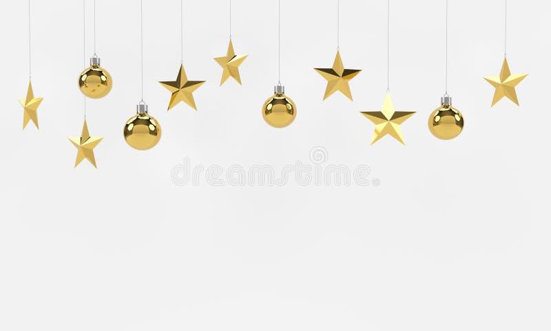 Bolas e ornamento dourados de suspensão das estrelas no fundo branco Para o ano novo ou o tema do Natal rendição 3d ilustração royalty free