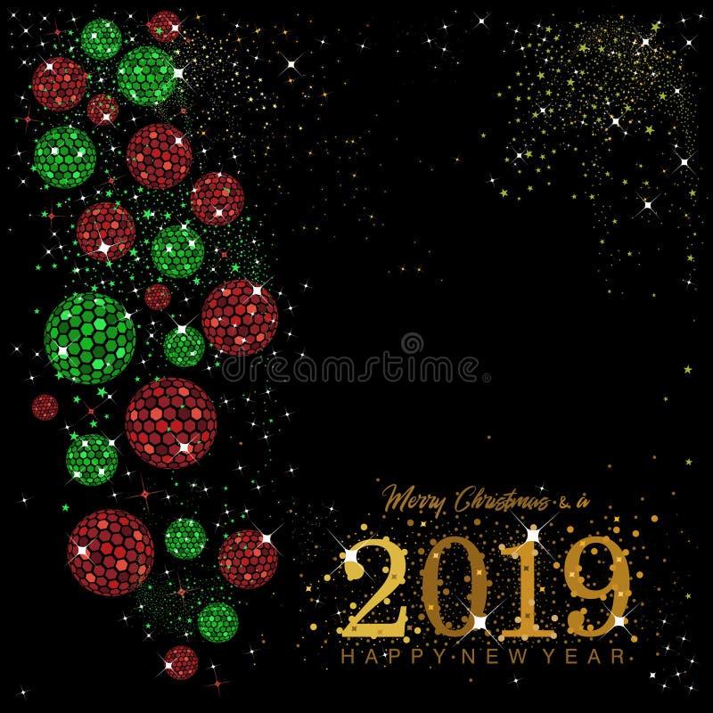 Bolas e quinquilharias do disco do hexágono em vermelho e em verde com estrelas e sparkles dourados ilustração royalty free