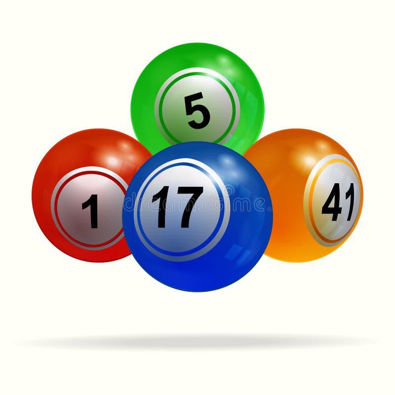 bolas e sombra da loteria do Bingo 3D sobre o branco ilustração royalty free