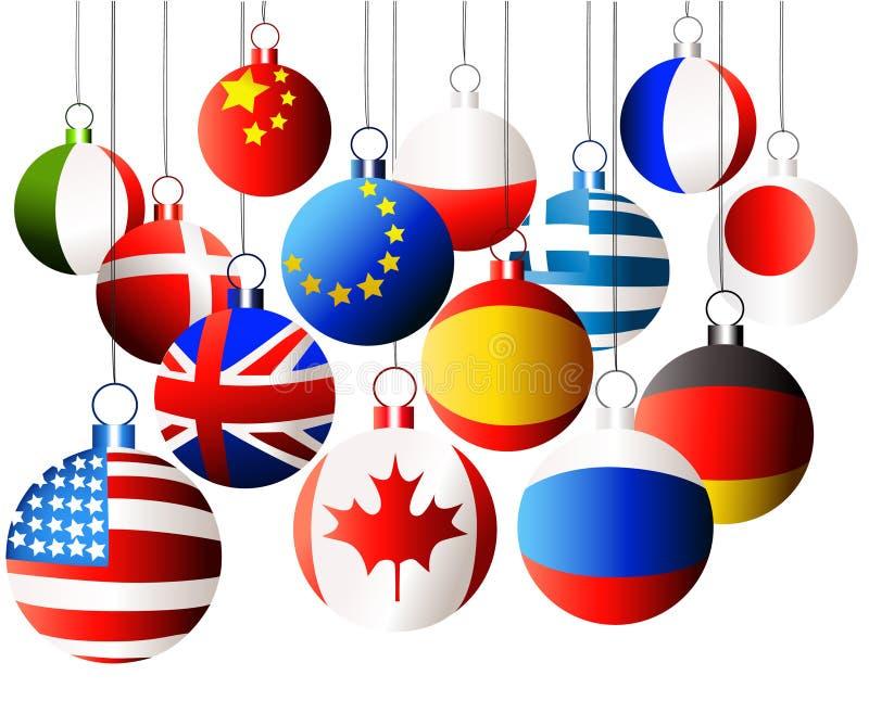 Bolas internacionales de la Navidad ilustración del vector