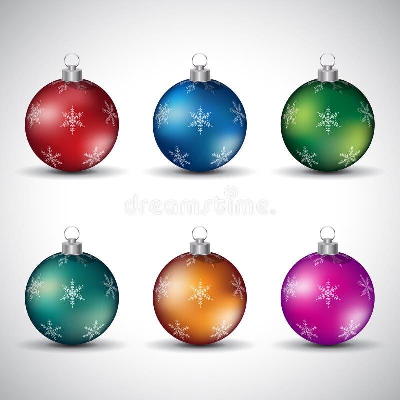Bolas lustrosas coloridas do Natal com vários projetos V do floco de neve ilustração stock