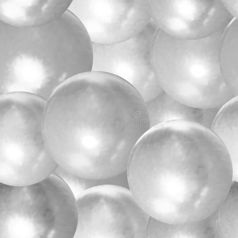 Bolas lustrosas de prata claras sem emenda do vetor, molde do fundo, ilustração preto e branco, esferas ilustração royalty free