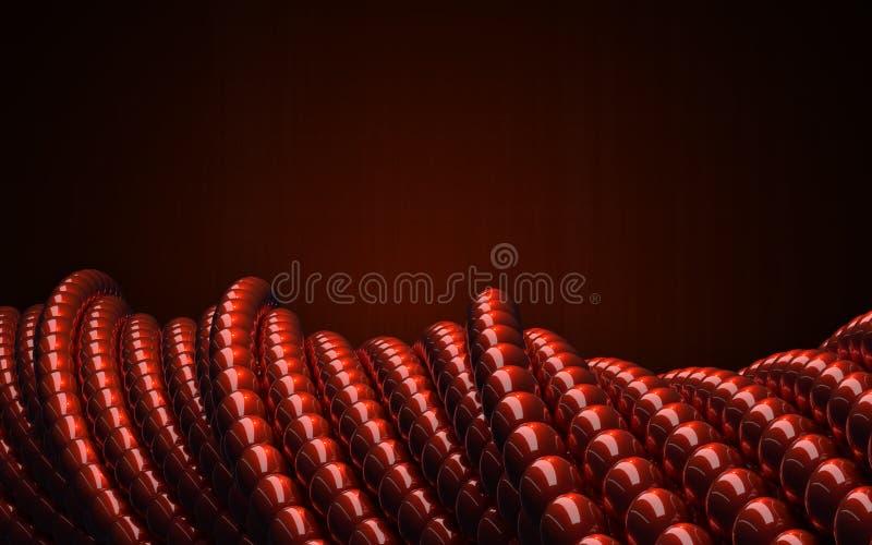 Bolas lustrosas vermelhas como a geometria 3D torceu formas circulares ilustração royalty free