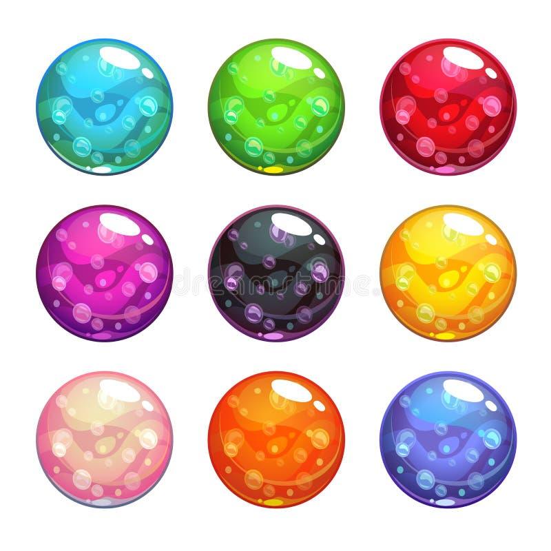 Bolas mágicas vítreos coloridas do vetor ajustadas ilustração royalty free