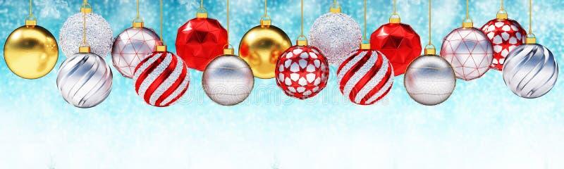 Bolas metálicas múltiples de la Navidad contra fondo de la nieve ilustración del vector