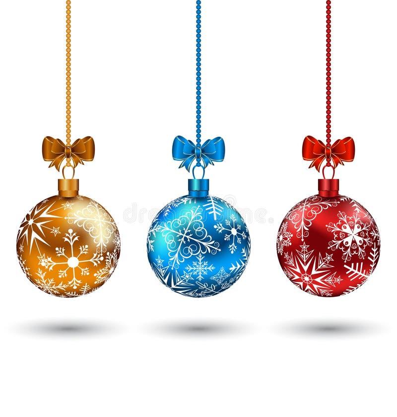 Bolas multicoloras de la Navidad con los arqueamientos libre illustration