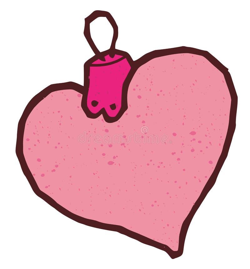 Bolas o juguete en forma de corazón de la Navidad ilustración del vector