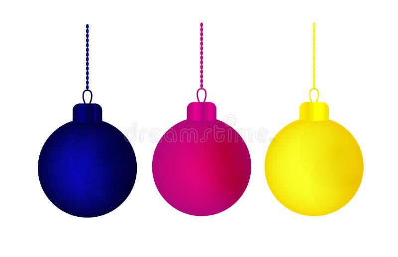Bolas olorful de la Navidad del ¡de Ð para la decoración del día de fiesta ilustración del vector