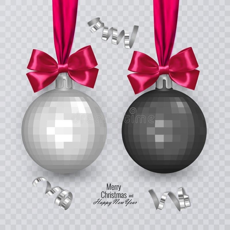 Bolas preto e branco realísticas com curva vermelha no fundo transparente, decorações do Natal do Natal, ilustração do vetor ilustração do vetor