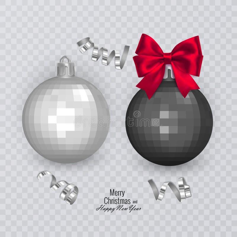 Bolas preto e branco realísticas com curva vermelha no fundo transparente, decorações do Natal do Natal, ilustração do vetor ilustração royalty free