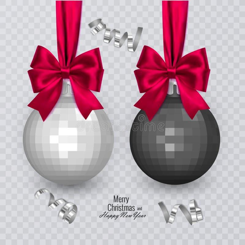 Bolas preto e branco realísticas com curva vermelha no fundo transparente, decorações do Natal do Natal, ilustração do vetor ilustração stock