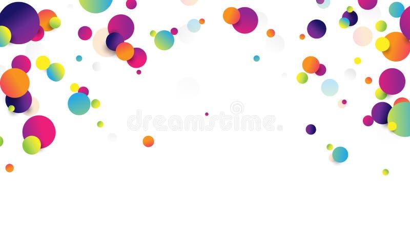 Bolas que caen coloridas del extracto en el fondo blanco stock de ilustración