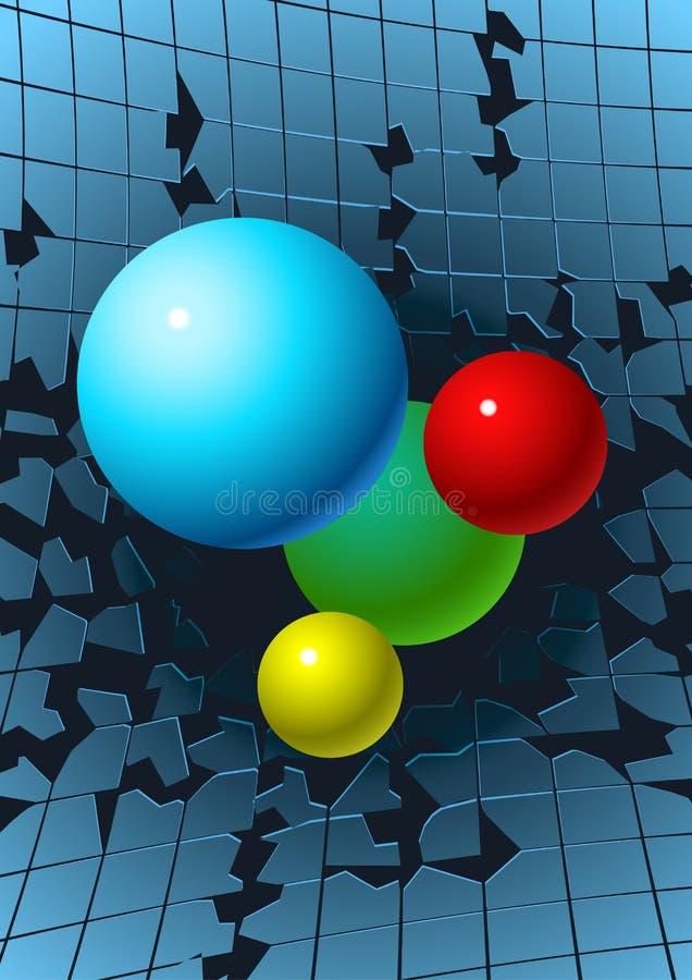 Bolas que rompen el vidrio ilustración del vector
