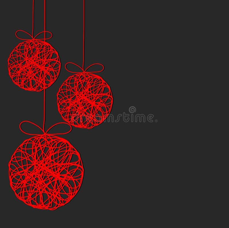 Bolas rojas de la decoración de la Navidad en el fondo oscuro, illus común del vector stock de ilustración