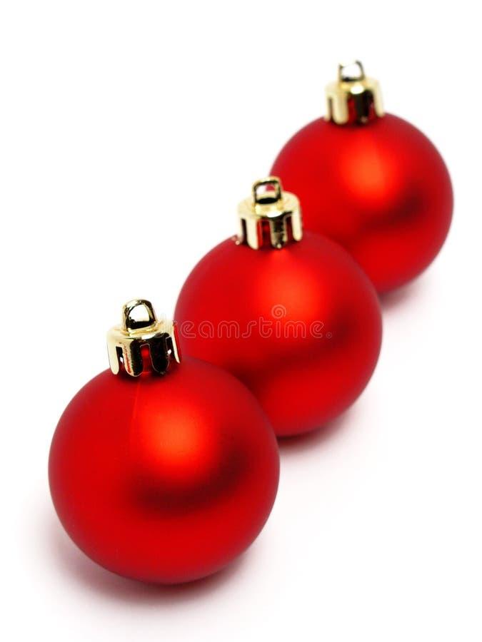 Bolas rojas de la Navidad foto de archivo libre de regalías