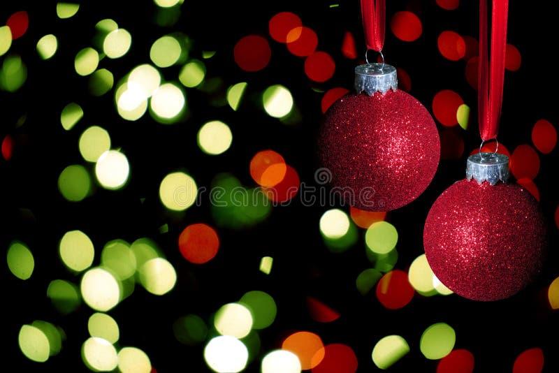 Bolas rojas de la Navidad con brillo fotografía de archivo libre de regalías