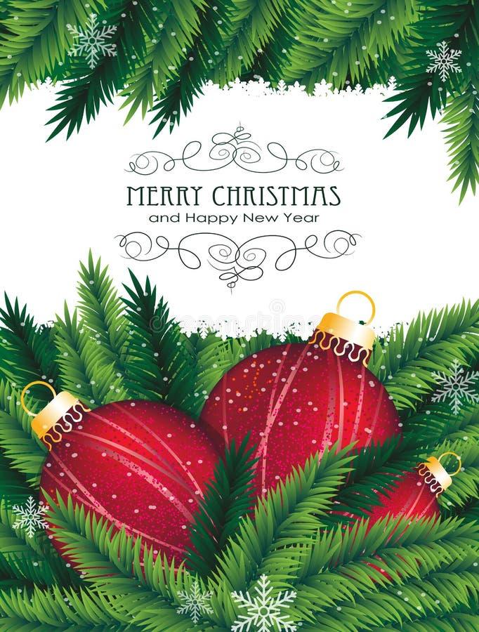 Bolas rojas de la Navidad y ramificación spruce ilustración del vector