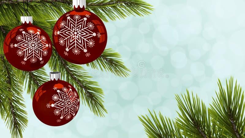 Bolas rojas del Año Nuevo en una tarjeta de felicitación del árbol de navidad representación 3d imagenes de archivo