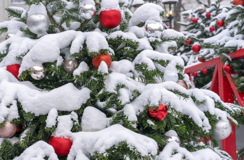 Bolas rojas y blancas en un árbol de navidad nevado Decoraciones Año Nuevo, la Navidad fotos de archivo