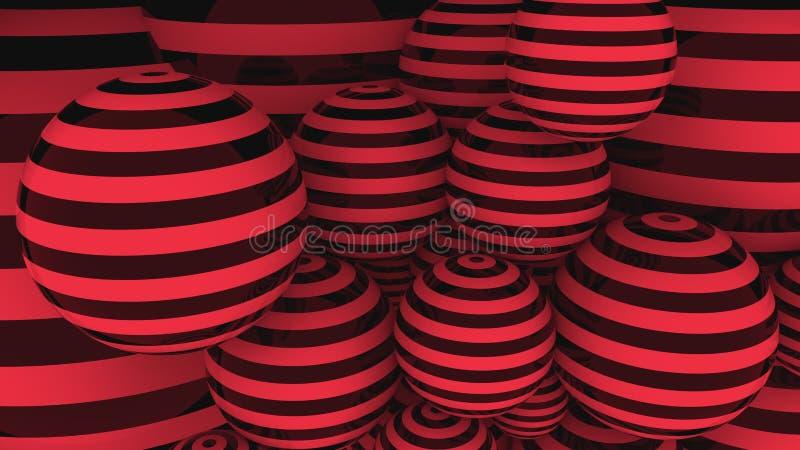Bolas rojas y negras representación 3d imagen de archivo