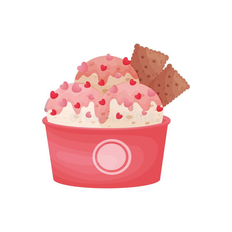 Bolas rosadas del helado en un cuenco de la cartulina Adornado con los corazones y las galletas del chocolate libre illustration
