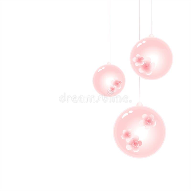 Bolas rosas claras suaves del árbol de navidad aisladas en el fondo blanco Cmyk del vector EPS 10 stock de ilustración