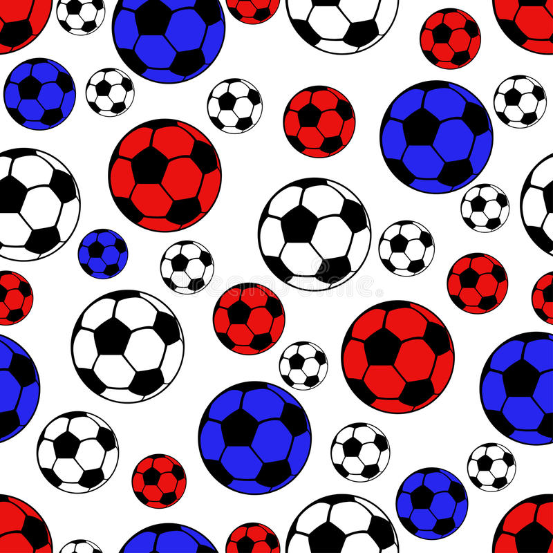 Bolas teste padrão sem emenda do futebol, fundo do esporte do vetor Bolas brancas, azuis e vermelhas ilustração royalty free