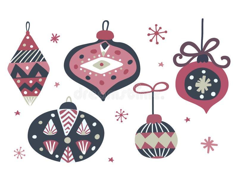 Bolas tiradas mão do Natal com ornamento geométrico Molde do cartão de Natal Decoração do Xmas Ilustração do vetor ilustração stock