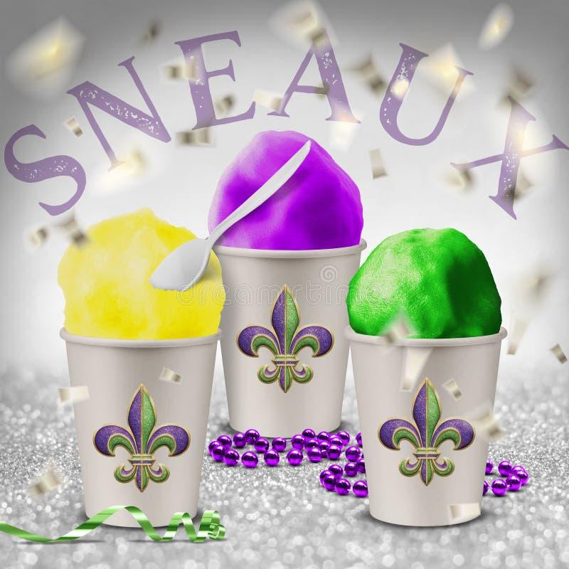 Bolas tradicionales New Orleans Luisiana de la nieve de la primavera del tiempo de verano ilustración del vector