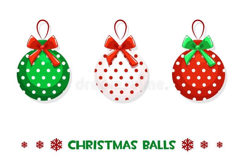 Bolas verde-rojas de la Navidad de la historieta del vector ilustración del vector