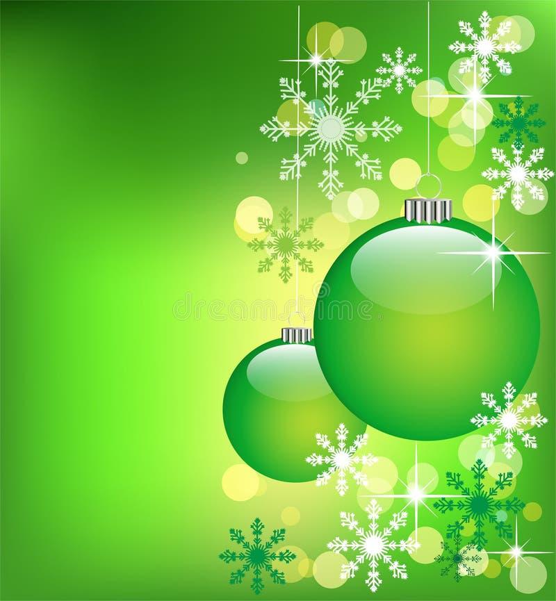 Bolas verdes de la Navidad ilustración del vector