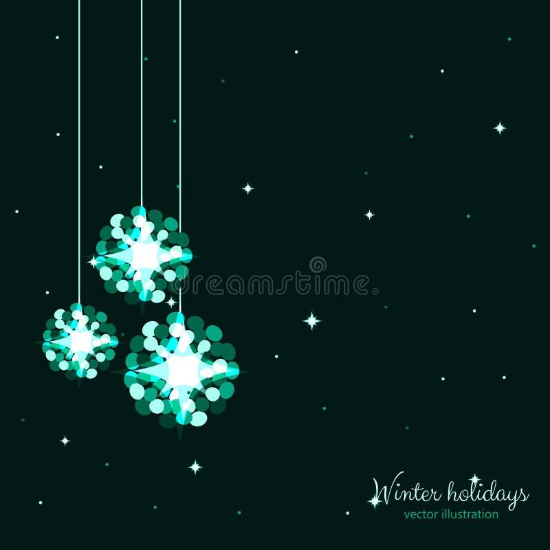 Bolas verdes dos feriados do brilho com fundo das estrelas ilustração royalty free