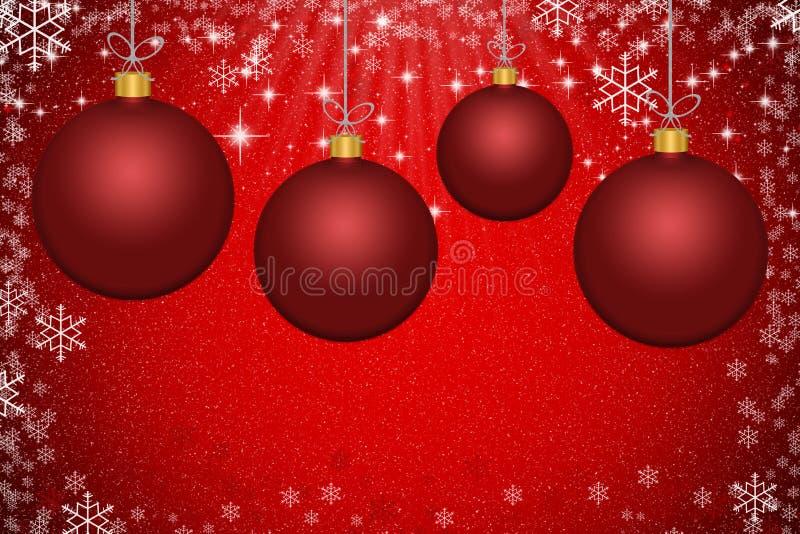 Bolas vermelhas abstratas do Natal com backgroun das estrelas e dos flocos de neve ilustração do vetor