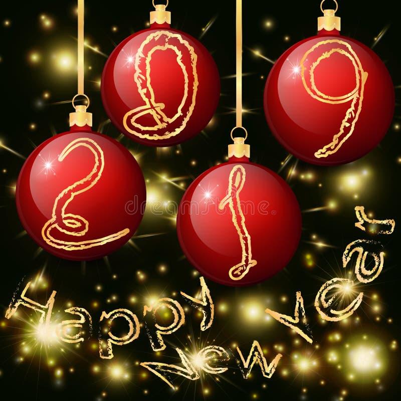 Bolas vermelhas do Natal com a inscrição 2019 e ano novo feliz ilustração stock