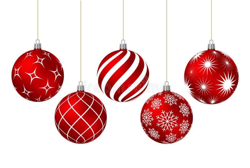 Bolas vermelhas do Natal com testes padrões diferentes ilustração do vetor