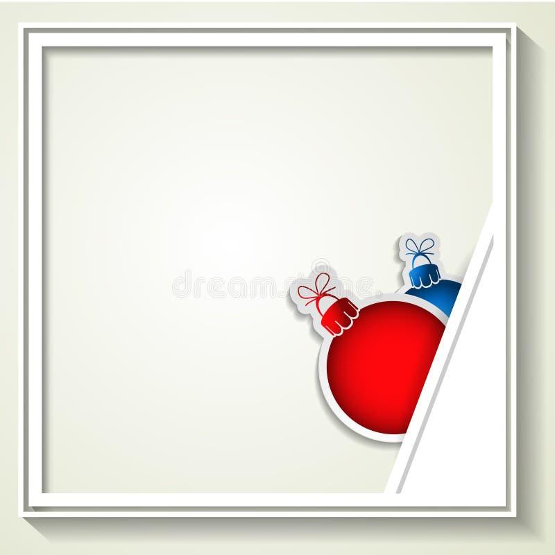 Bolas vermelhas e azuis do Natal com quadro para anunciar a foto ilustração royalty free