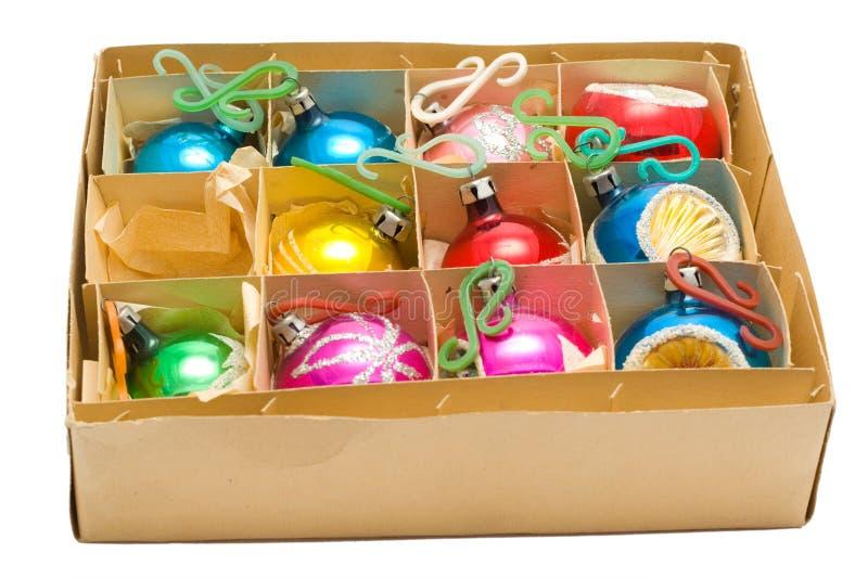 Bolas viejas de la Navidad foto de archivo libre de regalías